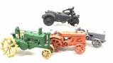 (4 Pc) Vintage Cast Iron Farm & Motorcycle Toys