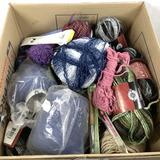 Assorted Yarn, Crochet Hooks & Knitting Tools