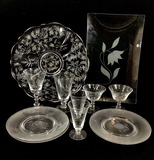 Assorted Etching, Cut Glassware, Cups, Plates