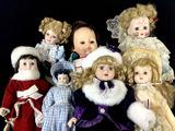 (7pc) Vintage Porcelain & Vinyl Dolls