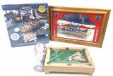 Pinball Game, Budweiser Sign, Mini Billiard Set