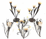 Amber Lilies Candle Wall Sconces, Table Candelabra