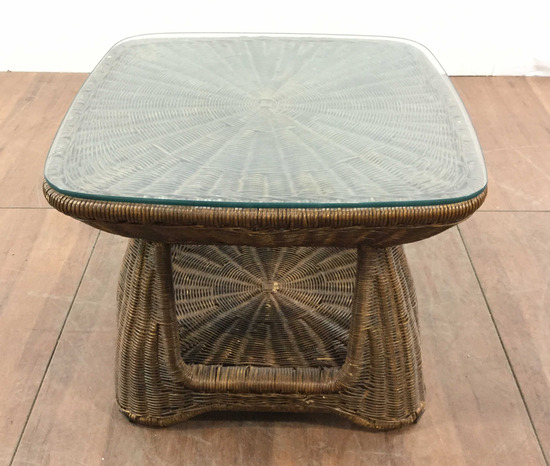 Glass Top Wicker End Table