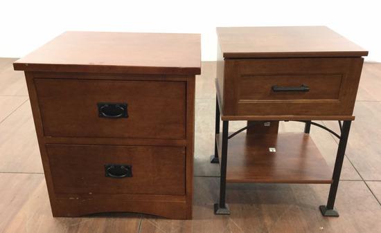 (2) Rustic Wood & Iron Nightstand