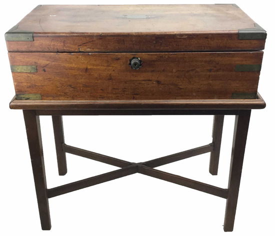 Antique Wood & Brass Traveling Desk W/ Stand