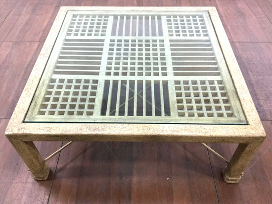 Beveled Glass Top Iron Coffee Table