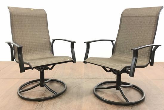 (2) Swivel Patio Arm Chairs