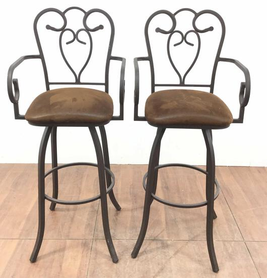 (2) 52in Cushioned Wrought Iron Barstools