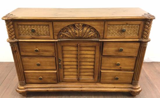 Rustic Oakwood & Wicker Style Triple Dresser