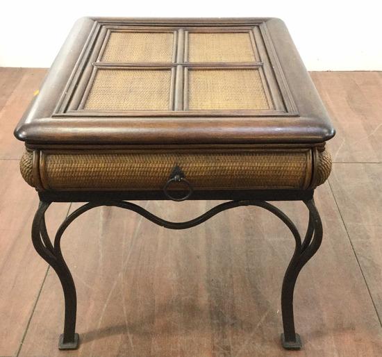 Rustic Rattan & Oakwood Side Table