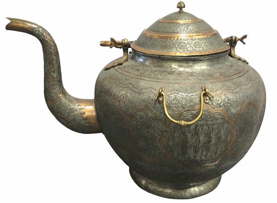 Large Persian Islamic Copper & Tin Tea Kettle