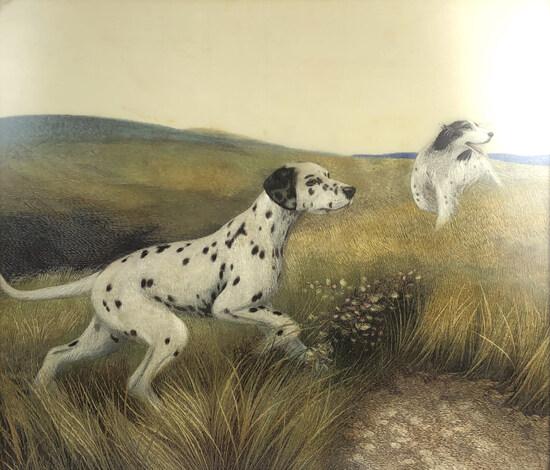 Sozayemon Nishimura Silk Embroidery Hunting Dogs