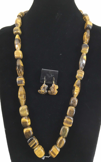 Tigers Eye Necklace And Frog Earrings