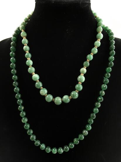 (2) Vintage Jade Bead Necklaces