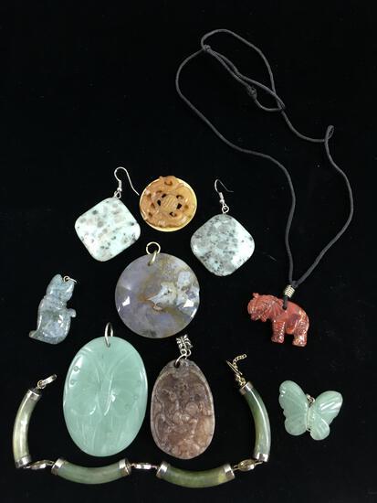 Carved Jade & Nephrite Pendants & Earrings