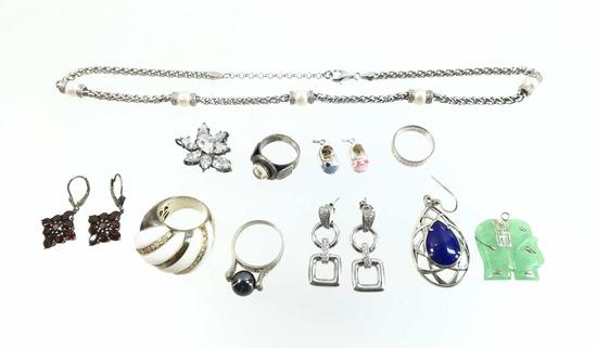 Silver Sterling Earrings, Ring, Pendant,