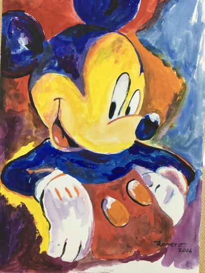 Romero Signed Mickey Mouse Original Painting