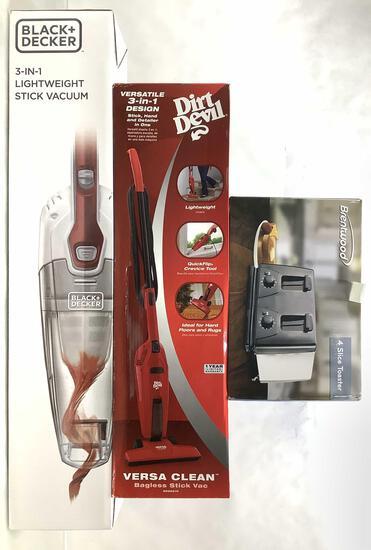 (3pc) Dirt Devil, B&d Stick Vacuum & Toaster