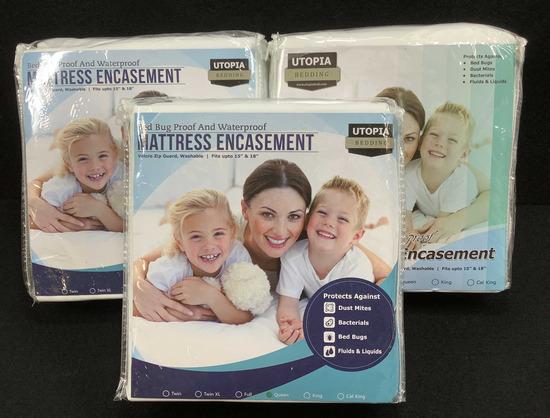 (3) Utopia Queen Size Waterproof Mattress Covers