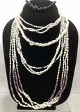 (4pc) 14k & Pearl Necklaces & Black Onyx Bracelet