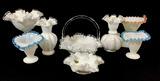 Vintage Fenton Glassware, Ribbon Top Vases