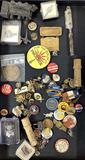 Assorted Vintage Pins, Shaving Wizard Blade