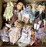 Assorted Vintage Vinyl, Porcelain, Plastic Dolls
