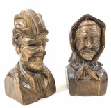 Vintage Wood Carved French Peasants, Book Ends