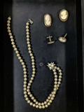 Vintage Costume Pearl Necklace, Pins, Cuffinks