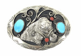 Western Silver Plate & Turquoise Belt Buckle