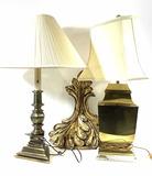 Pair Of Vintage Brass Lamps, Decorative Shelf