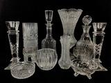 Assorted Glassware, Candlestick, Vase, Decanter