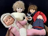 (4pc) Assorted Vintage Vinyl & Plush Dolls