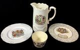 (4pc) Vintage Porcelain Royalty Plates, Pitcher