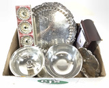 Silver Plate Serving Tray, Candle Holders