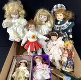 (7pc) Assorted Vintage Porcelain Dolls