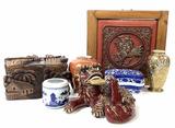 Vintage Asian Wood Artwork, Vases, Box