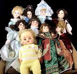 (9pc) Assorted Vintage Porcelain & Vinyl Dolls
