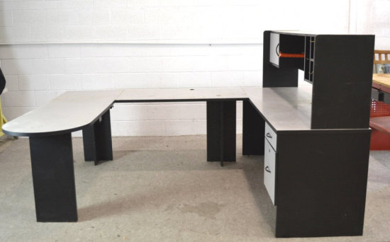 U Shaped Computer Office Desk W Shelf Unit