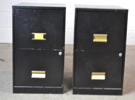 Black Metal Filing Cabinet Pair