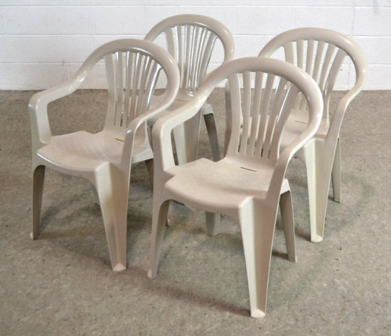 4 Stacking Plastic Patio Chairs