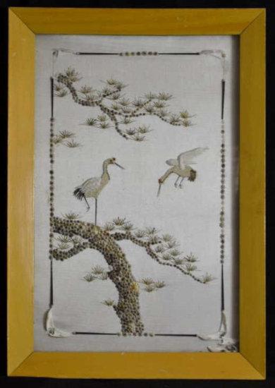 Silk & Shell Art in Frame