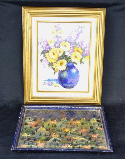 Animal Painted Tray, Dave Chavez Signed Oil Board
