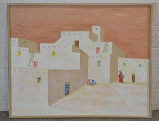 Native American Pueblo Painting on Canvas