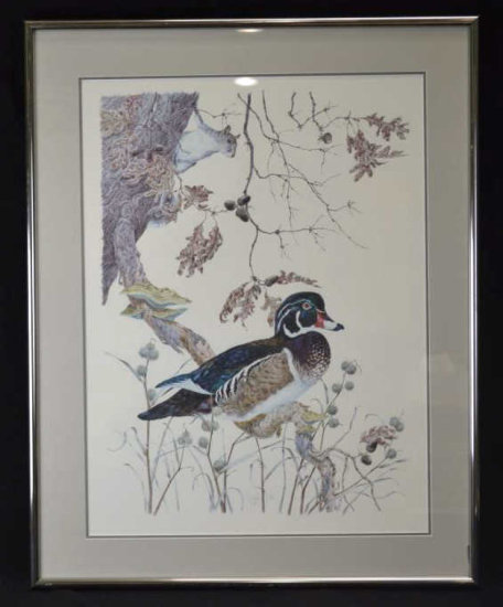 Robin Hill Signed Print, Duck & Squirrel