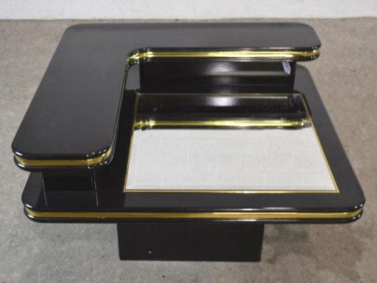 Mirror Top Corner Table w/ Shelf on Pedestal