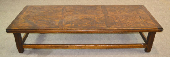 Long Wood Carved Coffee Table