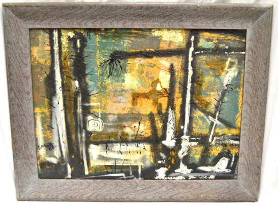 Harold Laynor (1922-1991) Abstract Oil on Board