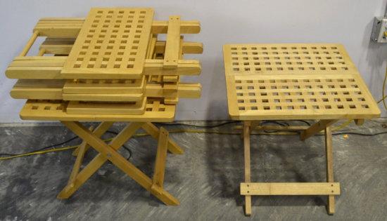 4 Folding Waffle Style TV Tray Dinner Table Lot