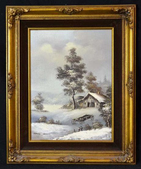 Frank Jayson Signed Oil on Canvas, Winter Scene